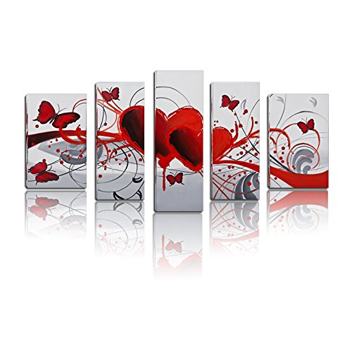BPAGO Fantasy Canvas Paintings Red Flower Love Butterfly Gift for Saint Valentine's Day Wall Art