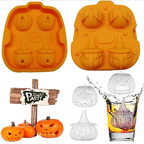 Ice Cube Molds Silicon, Lid Flexible Easy-Release Halloween Pumpkin Ice Cube Trays with 3D Shapes 4 Large Cavity for Whiskey Freezer Coffee DIY Chocolate Jello Cake BPA Free Party Supplies (Orange) -