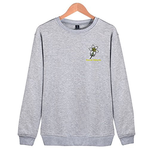 Athletic Adult Pullover Crew Sweatshirt Embroidery Yellow Jasmine Flower South Dakota Fashion