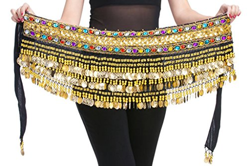 black friday deals 150cm Profession Black Flannel Belly Dance Hip Scarf with Gold Coins Colorful Gem - Sale Brands Friday Black