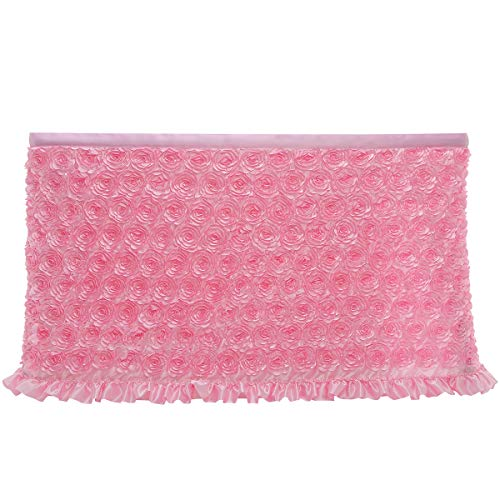 Cidyrer 6ft Pink Tulle Flower Table Skirt Cloth for Rectangle Table or Round Table for Birthday, Wedding, Party Decoration Supplies