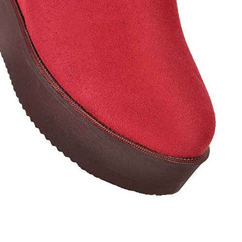 AllhqFashion Mujeres Sólido Tacón Alto Puntera Redonda Gamuza(Imitado) Sin cordones Botas Rojo