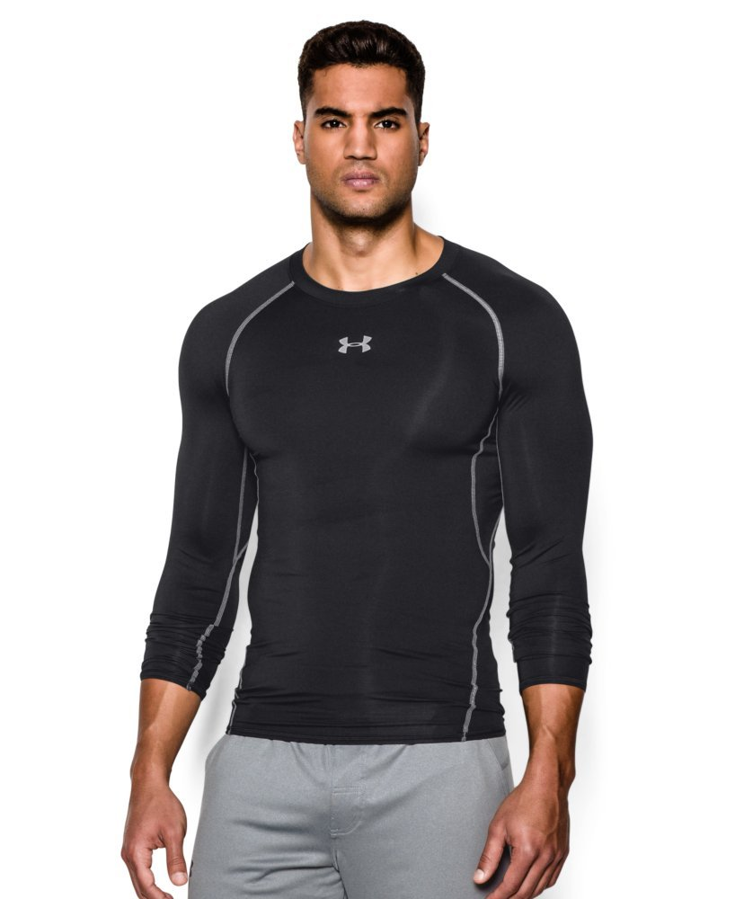 Under Armour Men's HeatGear Armour Long Sleeve Compression Shirt, Black (001)/Steel, X-Small