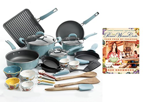 "The Pioneer Woman Ultimate Bundle with 30-Piece Cookware Set and Hardcover Edition of ""The Pioneer Woman Cooks: Food from My Frontier"" Cookbook by Ree Drummond (Turquoise) (27 Piece Cookware)"