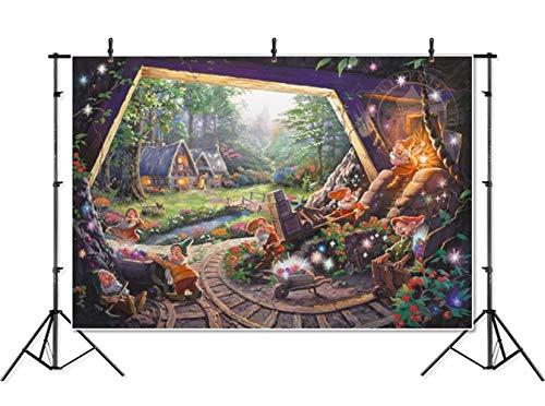 Fairytale Snow White Photography Backdrop 7x5 Wood Cave 7 Dwarfs Cartoon Photo Background Vinyl Ourdoor Wonderland Forest -