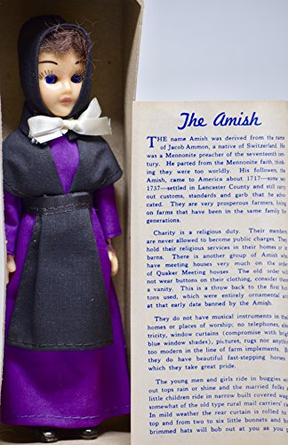 Amish Girl Doll (1980 - Lancaster County Way / Amish Acres - Amish Girl Doll - Hand-Made Purple & Black Outfit - 7 Inches Tall - Very Rare - Collectible)