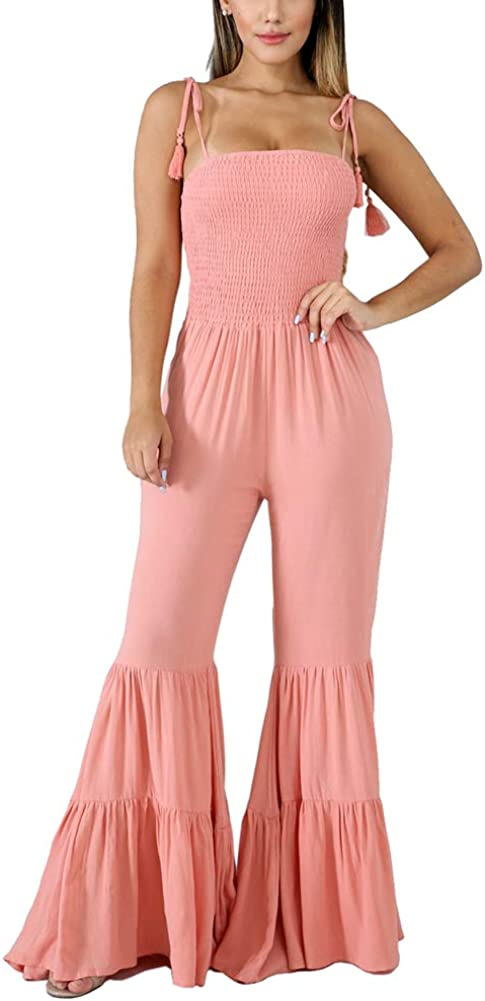 Spaghetti Strap Smocked Wide Leg Long Pants Cami Jumpsuit Romper Felivia Cocktail Jumpsuits for Women Evening Party