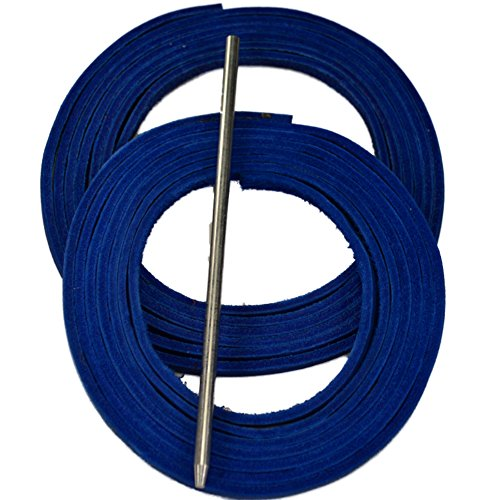 ball and Softball Glove Lace Kit, 2 Blue Leather Laces, Leather Lacing Needle ()