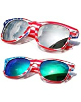 V.W.E.® Classic American Patriot Flag Wayfarer Style Sunglasses USA