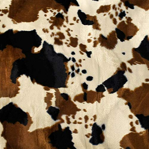 Brown Tan Cow Velboa Faux Fur Fabric - Sold By The Yard - 58