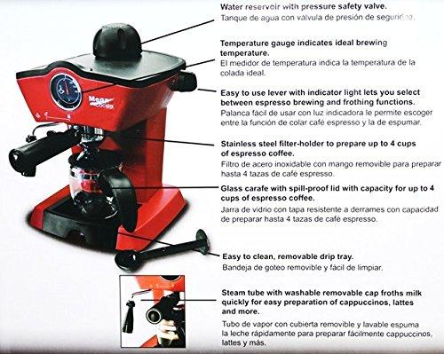 Electric Espresso Capuccino Maker 4 Cups Capacity by Mega Cocina