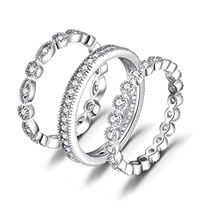 JewelryPalace Wedding Bands Wedding Rings For Women Anniversary Eternity Bands 3 Stackable Rings CZ Engagement Bridal Milgrain Marquise Infinity 925 Sterling Silver Ring Sets Size 4-10
