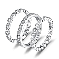Stackable rings are a chic way to create unique style. This stunning set of three band rings features cubic zirconia set in 925 sterling silver. Wear them individually, together, or stack them with your other favorite rings for top-notch acce...