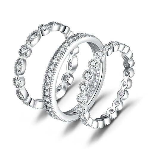 Eternity Wedding Ring - JewelryPalace Wedding Bands Wedding Rings For Women Anniversary Eternity Bands 3 Stackable Rings CZ Engagement Bridal Milgrain Marquise Infinity 925 Sterling Silver Ring Sets Size 4-10 (4)