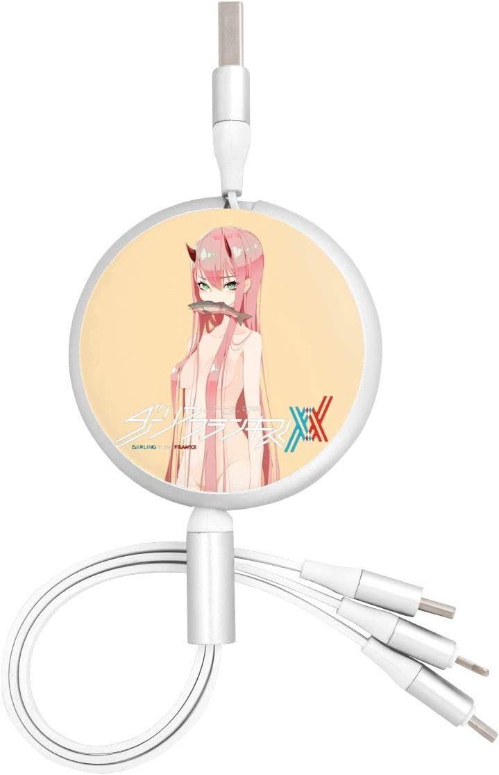 Aluminum Alloy Shell Pc Surface N//C Darling in The Franxx Anime Round Three-in-One Charging Cable TPE Cable