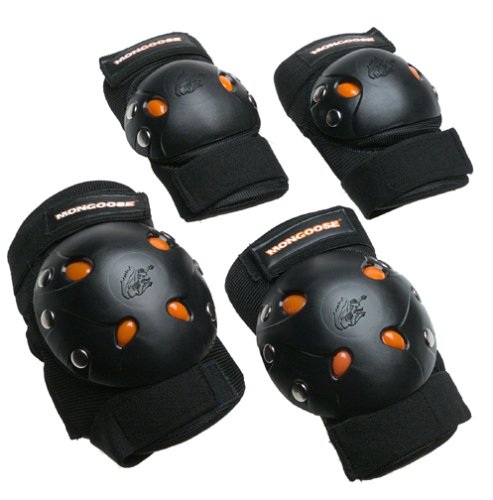 view larger  Pushing your limits and breaking new ground can lead to some bumps-- that's where Mongoose BMX Bike Gel Knee and Elbow Pads come in. Soft internal padding and tough outer shells add excellent protection when you're lea...