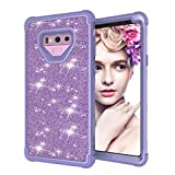 Dual Layer Shockproof Hard PC Case for Galaxy Note 9, Hybrid Armor Sparkle Glitter Back Cover, MOIKY Samsung Galaxy Note 9 Rugged Drop Resistant Dust Proof Protective Tough Shell with Impact Protection - Full Purple