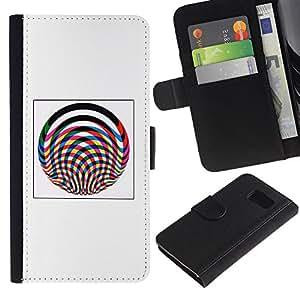 Be-Star la tarjeta de Crédito Slots PU Funda de cuero Monedero caso cubierta de piel Para Samsung Galaxy S6 ( Abstract Lines Poster Pink Grey Wheel )