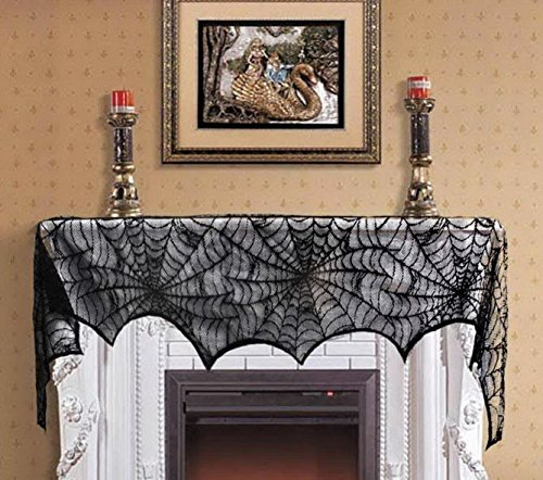Halloween Party Decoration Black Lace Spiderweb Fireplace Mantle Scarf (Easy Homemade Womens Halloween Costume Ideas)