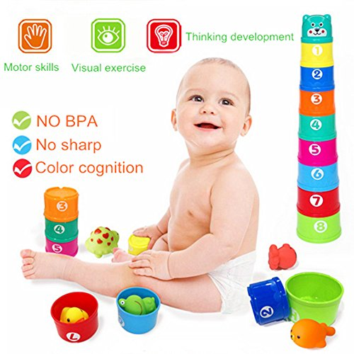 Top AISHN Bath Toys, 14pcs Nesting and Stacking Cups Floating toys and Squirt Toys Animals Rubber Water Spray Set supplier