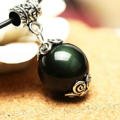 Feng Shui Obsidan Bead Pendant Necklace -Anti Negative Energy ( with a Betterdecor Pounch)