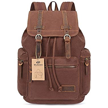 BLUBOON Canvas Vintage Backpack Leather Casual Bookbag Men Rucksack (Coffee)