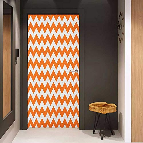 Toilet Door Sticker Chevron Halloween Pumpkin Color Chevron Traditional Holidays Autumn Season Celebrate Glass Film for Home Office W31 x H79 Orange White -