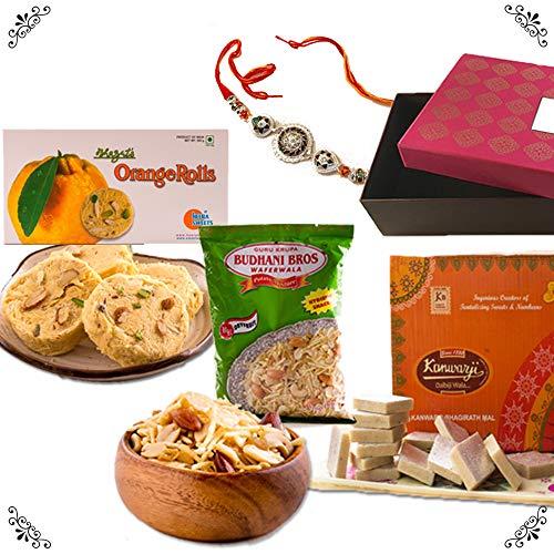 - Bite of India (Mumbai) Premiun Rakhi Sweet Gift Box - Designer Rakhi, Kanwarji Kaju Katli, Heera Orange Son Rolls, Budhani Spl Potato Mixture