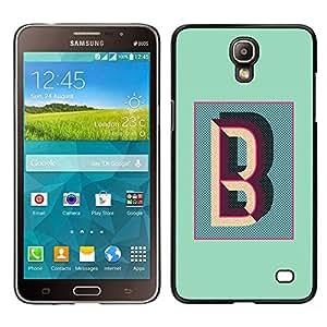 Samsung Galaxy Mega 2 / SM-G750F / G7508 Único Patrón Plástico Duro Fundas Cover Cubre Hard Case Cover - B Letter Teal Calligraphy Initials Alphabet
