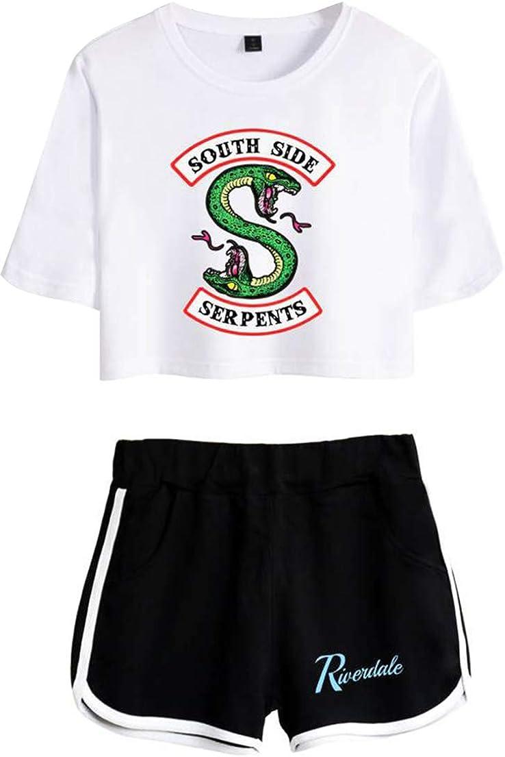 OLIPHEE Camisa de Riverdale Impresa Serpiente con Pantalones Cortos de Verano para Mujer