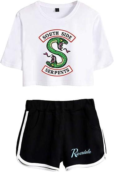 Image ofOLIPHEE Chándales con Logo Batalla de Riverdale Camisa y Pantalones Cortos de Verano para Mujer