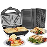 VonShef 3-in-1 Sandwich Toaster, Waffle Maker & Grill | Toastie Maker with Non-Stick Removable Plates | Stainless Steel | 700W