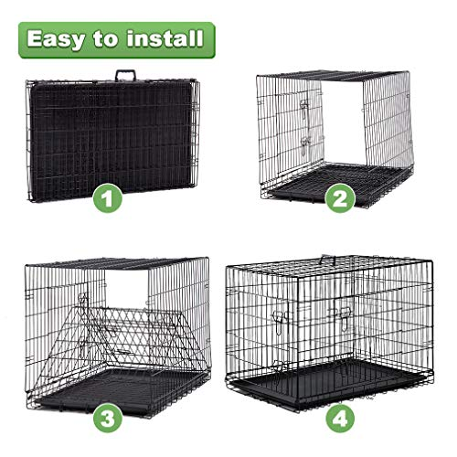 BestPet Large Dog Crate Cage Metal Wire Kennel Double-Door Folding Pet Animal Pet Cage with Plastic Tray and Handle,48'' by BestPet (Image #3)