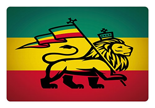 """Ambesonne Rasta Pet Mat for Food and Water, Judah Lion with a Rastafari Flag King Jungle Reggae Theme Art Print, Non-Slip Rubber Mat for Dogs and Cats, 18"""" X12"""", Yellow Red"""