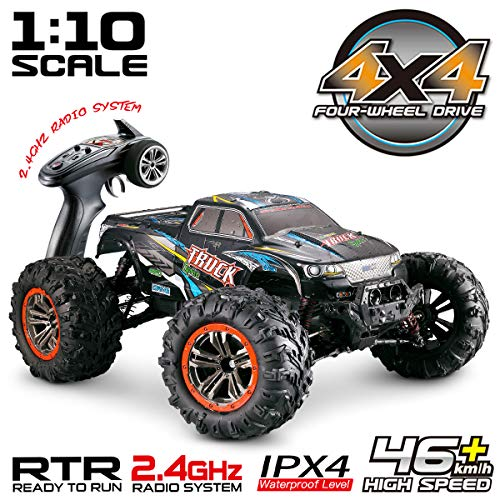 Hosim Large Size 1:10 Scale High Speed 46km/h 4WD 2.4Ghz Remote Control Truck 9125,Radio Controlled Off-Road RC Car Electronic Monster Truck R/C RTR Hobby Grade Cross-Country Car (Black) (Best 4wd In The World)