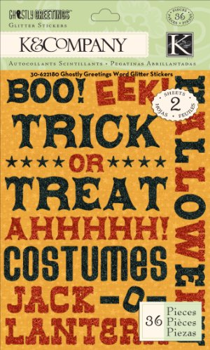 EK Success K and Company Ghostly Greetings Word Glitter Stickers for $<!--$9.00-->