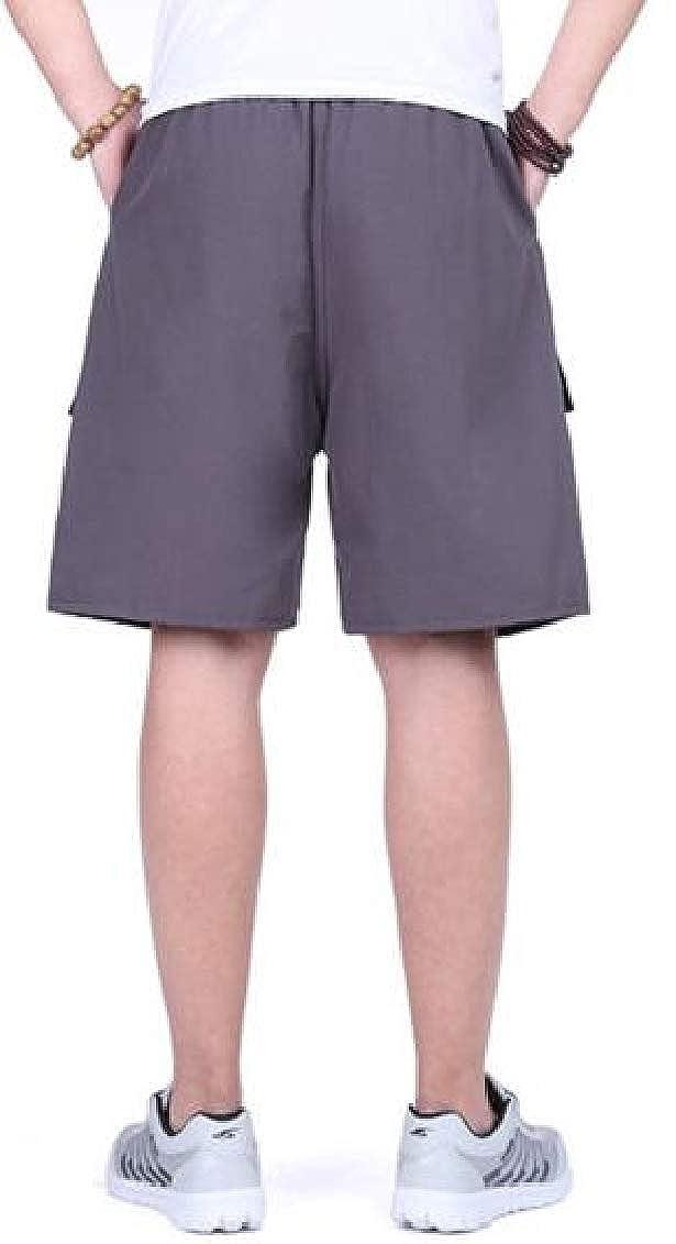 Hajotrawa Mens Elastic Waist Beach Multi Pockets Loose Pants Casual Short