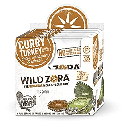 Wild Zora - Curry Free-Range Turkey & Organic Veggie Bars, 10-pack - Gluten-Free - No Antibiotics or Added Hormones (10-Pack)