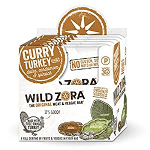 Wild Zora Curry Free Range Turkey & Organic Veggie Bars (10 pack) - Gluten-Free, No Antibiotics, No Added Hormones