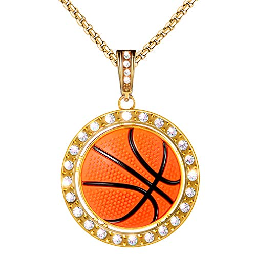 LIYALI Sports Necklace Basketball Pendant Necklace Stainless Steel Necklace (Gold ()