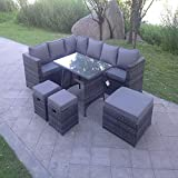Outdoor Rattan Corner Sofa Garden Furniture Dining Set 9 Seater Grey Corner Sofa Set and A Table with Pillow Cushions