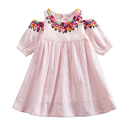 Juxinsu Cotton Girl Middle Sleeve Dress Beach Short Sleeve Dresses for Summer Baby Kids Clothes 1-6 Years SH609 (3t, Pink) by Juxinsu