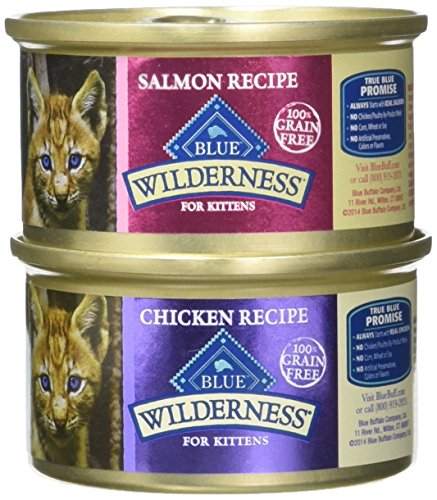 Blue Buffalo Wilderness Grain-Free Variety Pack Wet Kitten Food - 2 Flavors (Salmon & Chicken) - 12 (3 Ounce) Cans - 6 of Each Flavor