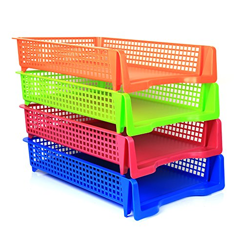 4 Tier Plastic Desk Letter Organizer Tray Stackable