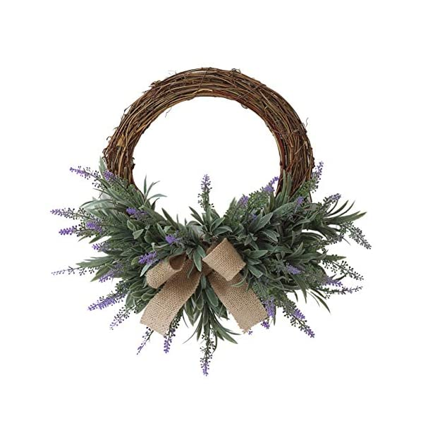Anntool Door Wreath with Artificial Lavender Flowers Round Wreath Decorative Bowknot for Front Door Home Party Decor in Fall Farmhouse Thanksgiving Decor (15 inch)