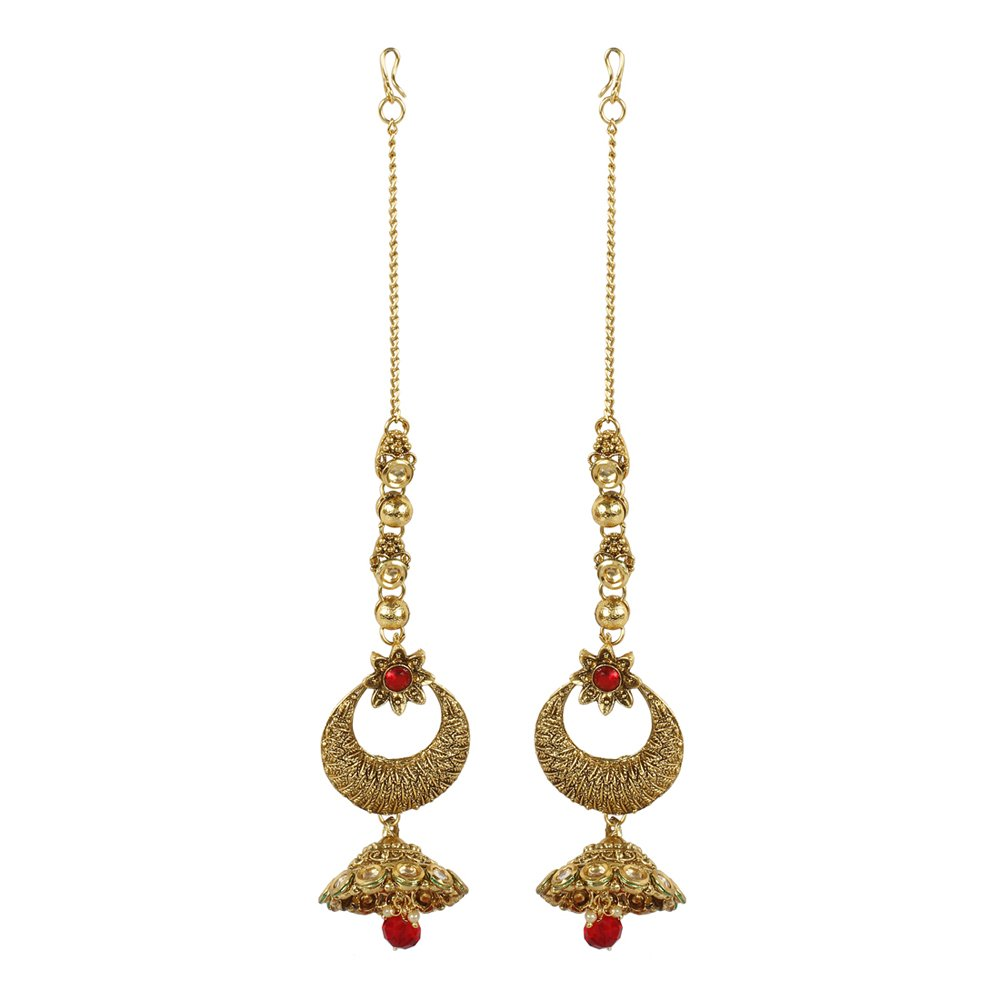 MUCHMORE Marvellous Style Polki Traditional Necklace Earring Bridal Set Partywear Jewelry For Womens by Muchmore (Image #5)
