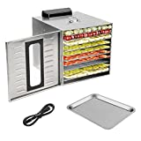 Homgrace Kitchen Commercial Food Dehydrator, Stainless Steel 10 Trays Food Dehydrator Nut Durable Fruit Sausage Jerky Dryer with digital Timer for Beef Jerky, Dried Fruits, Vegetables & Nuts (silver)...
