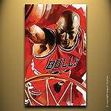 "MICHAEL JORDAN basketball Chicago Bulls NBA Poster Original Artist Signed Canvas Art Print #3 (Small 14"" x 9"")"
