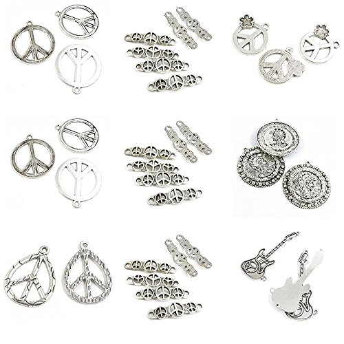 35 Pieces Antique Silver Tone Jewelry Making Charms Anti War Signs Electric Guitar Connector Roman Warrior Portrait Tags ()