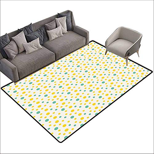 Indoor/Outdoor Rubber Mat Geometric,Various Sized Dotted Pattern with Vibrant Tropical Inspirations Holiday,Seafoam Yellow White 80